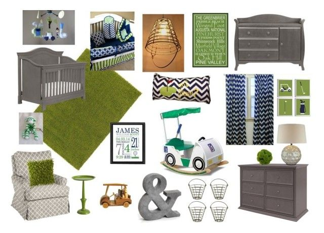 Collin's Golf Nursery by amandaloverstreet on Polyvore featuring polyvore, interior, interiors, interior design, home, home decor, interior decorating, Pier 1 Imports and Champion