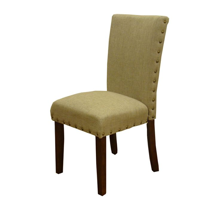 Homepop tan nail head parsons chairs set of 2 by homepop for Dining room head chairs