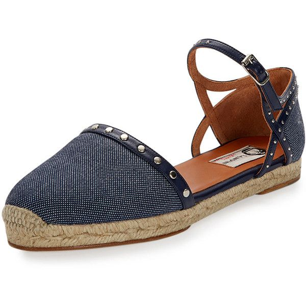 Lanvin Studded Denim Espadrille Flat (5.215 ARS) ❤ liked on Polyvore featuring shoes, flats, navy, flat espadrilles, flat shoes, navy shoes, navy flat shoes and ankle wrap flats