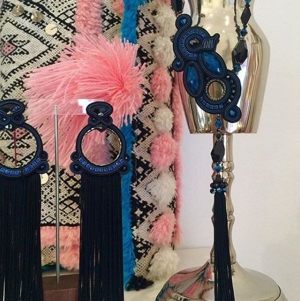 fringe obsession....our Blue Glam suite on display at Calanit Bisuteria, sotogrande   #doricsengeri #sotogrande #fringeearrings #tasselearrings #couturejewelry #doriearrings