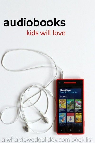 Great for car trips --> List of good audiobooks for kids