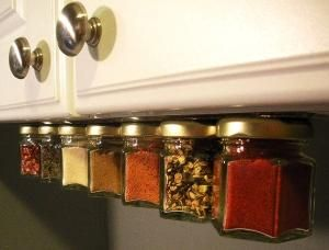 Magnetic strip under cabinet for spices.
