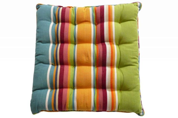 Yellow, Green and Blue Striped Seat Pads with Piping