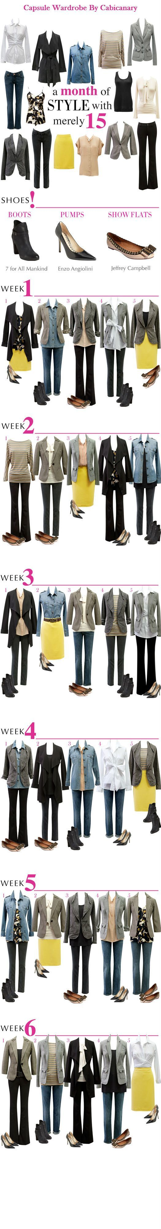 30 Days of Style from 15 Pieces. Great little ideas here. Americans must start investing in less pieces with more value.