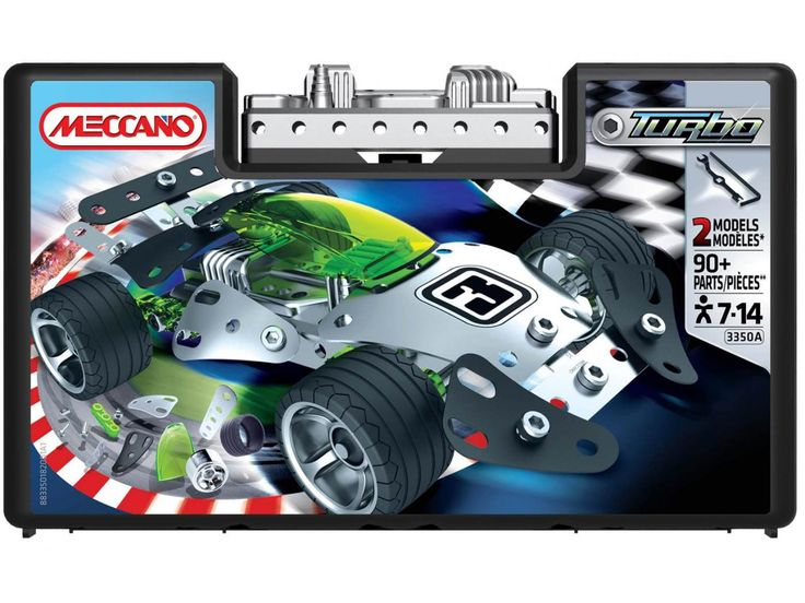This is a great sturdy meccano set that is fun to build and then play with. MECCANO Turbo Cars Medium 883350 #toys2learn #construction #meccano #earlylearning