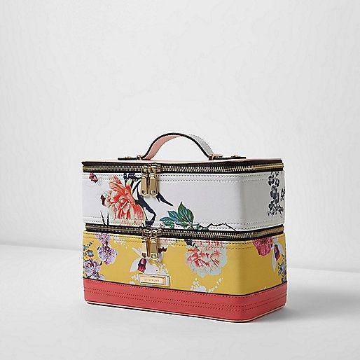 Yellow floral print vanity case bag - make up bags - bags / purses - women