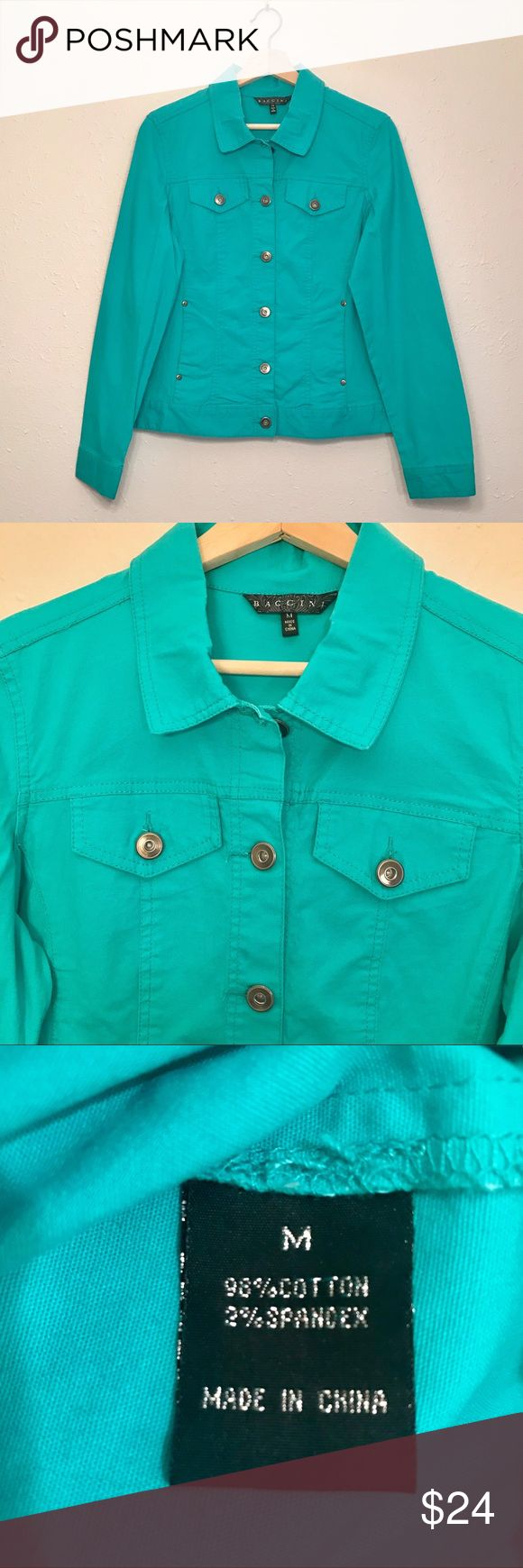 Cool aqua jean jacket Western style jean jacket in bright aqua. Material has a good bit of stretch for a flattering look. EUC, only worn once or twice. Perfect for brightening up a weekend look.  ✨Measurements or more photos upon request ✨ ✨Comment with any questions prior to purchase✨ ✨Bundles or offers welcomed✨ Jackets & Coats