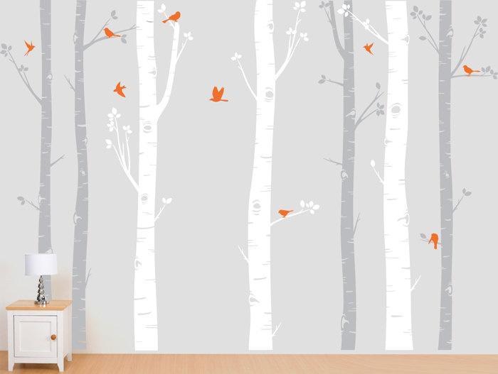 Birch Tree Decal with Flying Birds in 2 colors, Birch forest, Birch Trees Wall Vinyl for Nursery, Living Room, Kids or Childrens Room. $95.00, via Etsy.