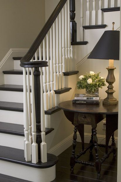 Stairs painted/stained out like this but stained rainling & pillar with all white areas painted revere pewter