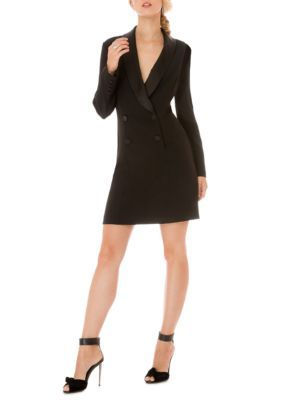 Donna Morgan Women's Long Sleeve Tuxedo Dress - Black - 16