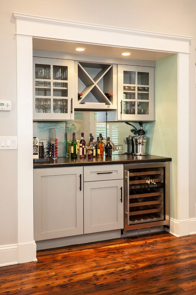 Holly's ideas for basement bar: Built in storage, fridge, china display up  top. House of Turquoise: Renewal Design-Build