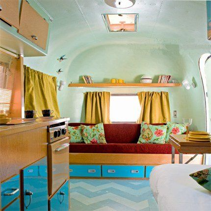 Colorful Airstream Interior!: Vintage Trailers, Trailers Interiors, Caravan, Bedrooms Colors, Airstream Interiors, Chevron Floor, Airstream Dreams, Vintage Travel Trailers, Vintage Campers