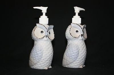Pair of lovely vintage owl soap lotion dispensers