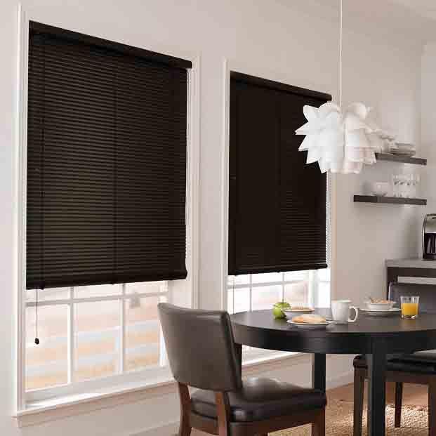 Black Vinyl 1 In Mini Blinds Basic Black Home Decor