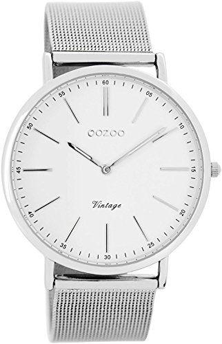 Oozoo-Vintage-Ultra-Slim-Metallband-40-MM-SilberWeiss-C7385