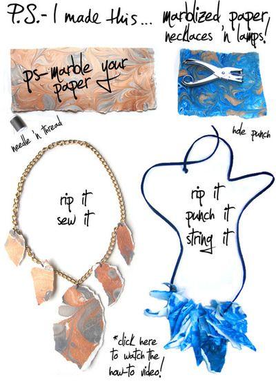 Marblelized Paper Necklace