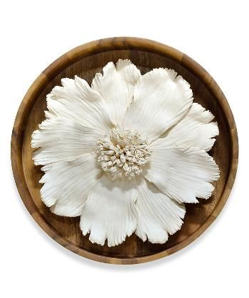 Ceramic Flower on Wood Wall Décor - Decorative