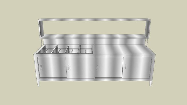 Large preview of 3D Model of Bain Marie - Stainless Steamer and Prep Station