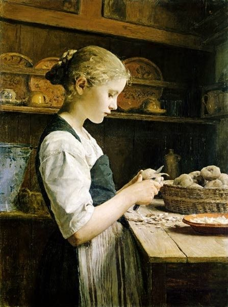 """""""Rapariga Descascando Batatas"""" - Pintura de Albert Anker"""