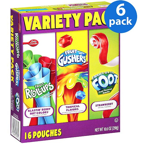 Betty Crocker Fruit Roll Ups/Fruit Gushers/Fruit By The Foot Variety Pack Fruit Flavored Snacks, 10.6 oz (Pack of 6)