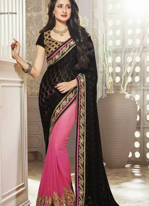 Sparkling Black & Pink Embroidered Half And Half Saree