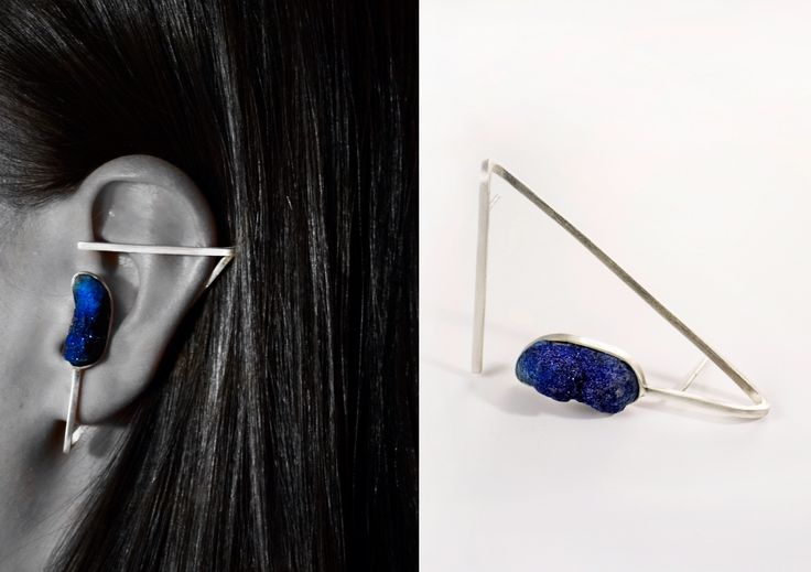 Azurite | sterling silver earpiece |JULS