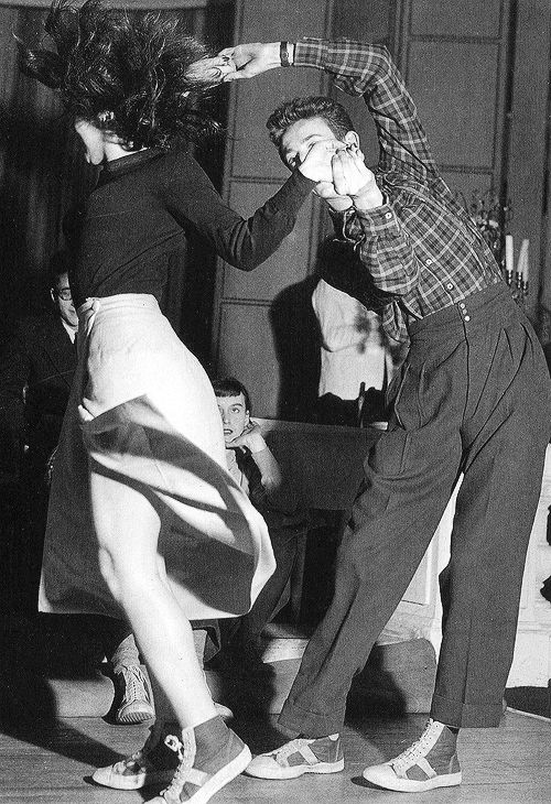 "anotherstateofmind67: "" Parisian students jitterbug at a nightclub on the Left Bank, 1949 """