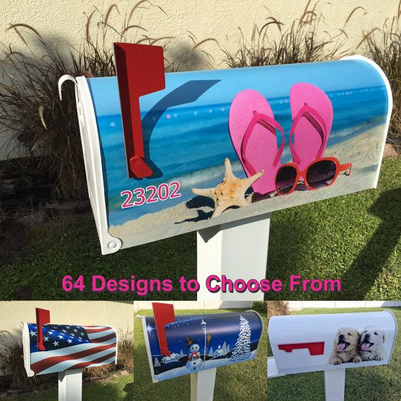 Beach Scene Magnetic Mailbox Cover by Stickerzdotcom on Etsy