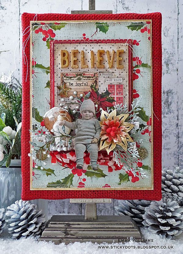 Santa Will Know - Burlap Panel created by Emma Williams for the Simon Says Stamp Monday Challenge Blog