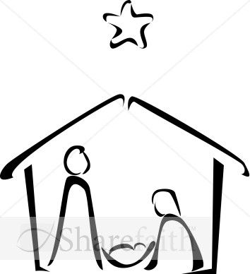 This Nativity scene is drawn with minimal, black outlines, showing the Holy Family in a stable, under a simple star in the sky.