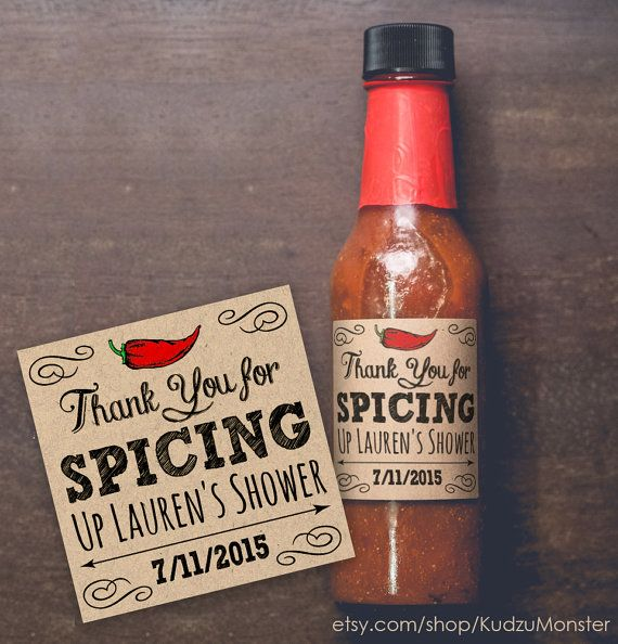 Thanks for SPICING up my baby shower, bridal shower, backyard BBQ, etc custom text set of 20 kraft square labels 2x2 inches for hot sauce, spice rub, pepper jelly and more by KudzuMonster