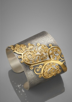 LOVE!!! Gold-Plated Smoky Quartz Cuff from Soho Styles