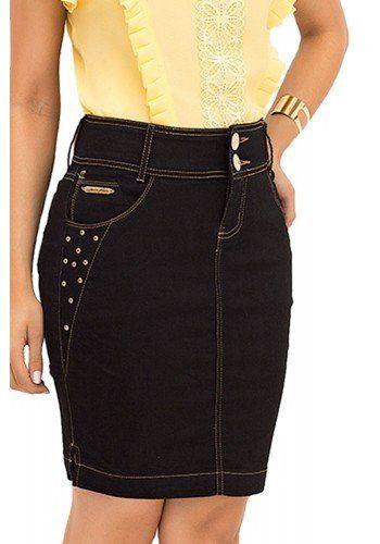 0345c21fd saia tradicional jeans escuro laura rosa recorte frente   Denim in ...