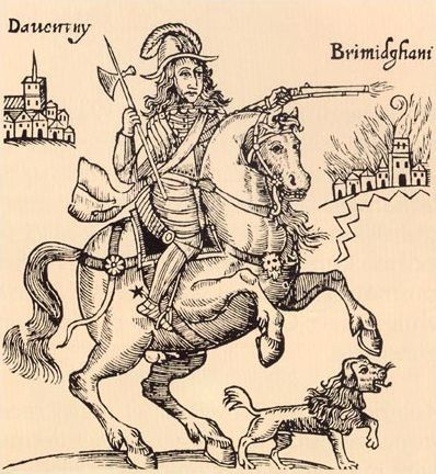 Another contemporary depiction of Prince Rupert and the witch-dog Boy, from the anti-Royalist pamphlet The Cruel Practices of Prince Rupert (London, 1643)