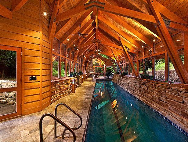 Rustic Indoor Pool Cool Houses Daily Palatial Pools