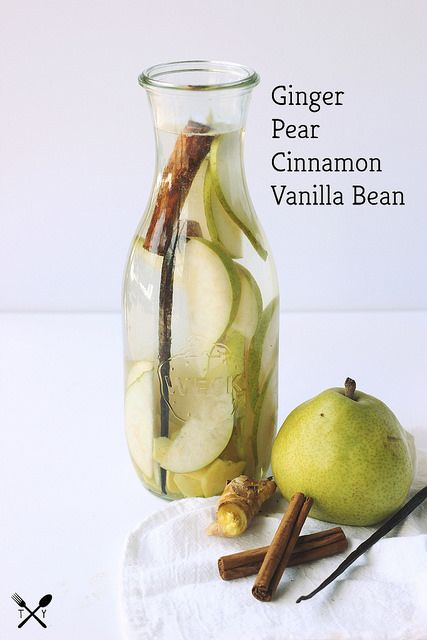Ginger pear cinnamon vanilla bean infused water.