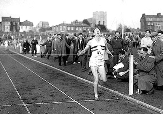 Roger Bannister runs 3:59.4 to become the first man under the 4 minute barrier, May 1954