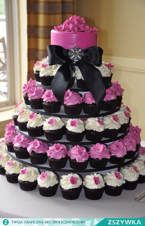 Black,White and Hot Pink Cupcakes with Hot Pink Topper Cake and Black Satin Bow