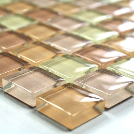 Glasmosaik Plattor 23x23x8mm Beige Mix