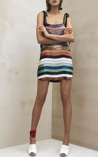 This Attico Dress Features A Rainbow Striped Sequin
