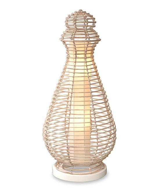 White Wash Rattan Floor Lamp