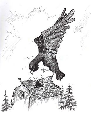 Kokko's are described as giant eagles, in the Kalevala. They may have an connection to Thunderbird, which is widely known from Europe all the way to Native Americans. Kokko is described as bird made of iron, sometimes as bird of fire. It has gigantic claws, and it has an ability to carry humans and other heavy weights.