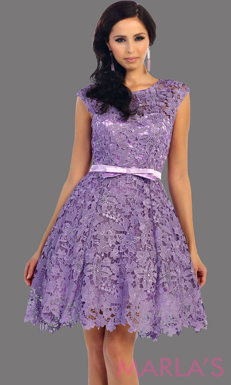 Short Lilac Lace High Neck Dress With A Satin Bow This Light