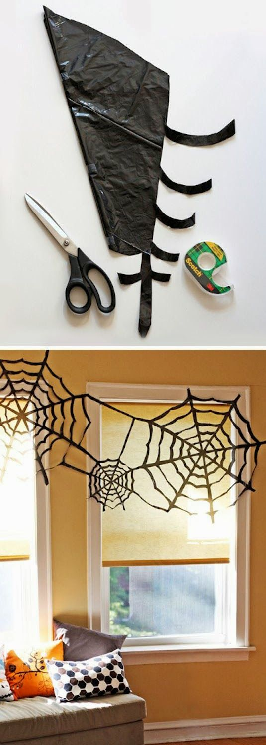 mommo design: HAPPY FALL - spider web from trash bags