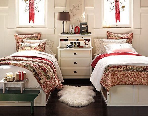 Kids Bedroom, Christmas Bedroom Decorations Ideas In Elegant Look With Twin Bed And Wall Ornament Decorated With Single Fury Mat And Green Table: Awesome Increase the Kids Bedroom Decoration with Christmas Bedroom Ornaments