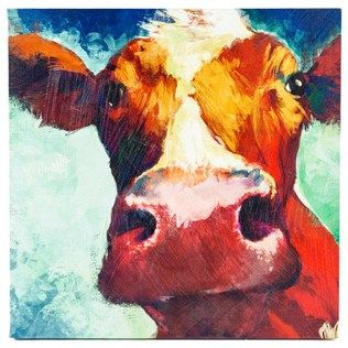 """Mooooove over! This Big Cow Canvas Wall Art is about to take over your heart and your home. Featuring a big, highly-detailed cow on a blue and turquoise background, all painted with abstract brush strokes for an extra artistic touch, this playful piece is ready to become the focal point of your kitchen, entryway or living room.    Dimensions:      Length: 22""""    Width: 22""""    Thickness: 1 1/2""""      Hanging Hardware:      2 - Triangle Hangers (21"""" from Center to Center)"""
