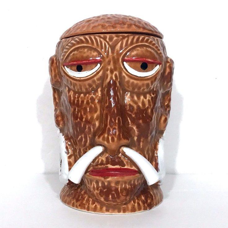 Mr Bali Hai Headhunter Tiki Mug w Lid Restaurant Bar San Diego Shelter Island CA