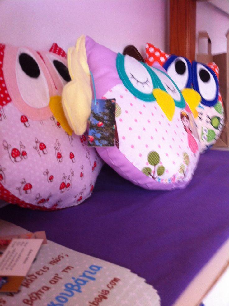 Handmade owls at babyfeat center