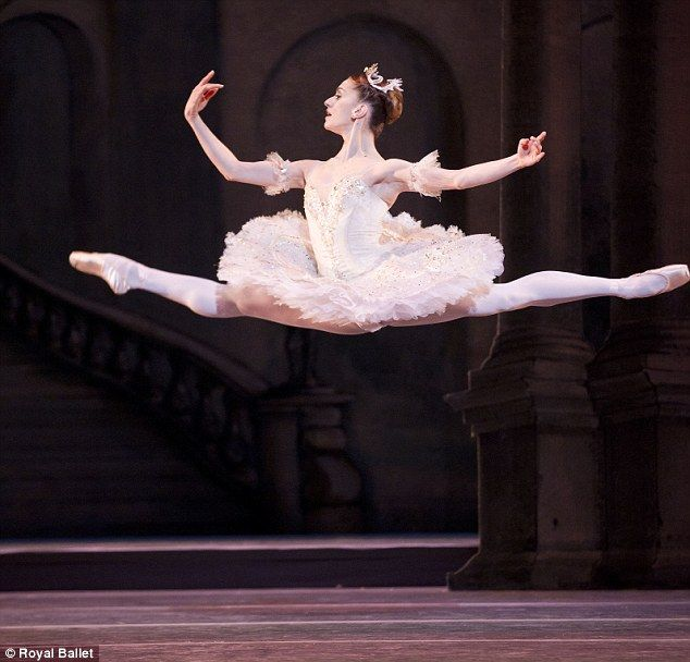 Difficult: Marianela Nunez performs a flying move in her role as Princess Aurora in the new production of The Sleeping Beauty