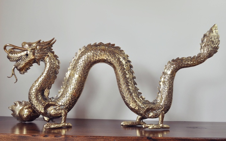 Golden Dragon Sculpture - $799.00    http://ayanalifestyle.myshopify.com/products/dragon-with-ball